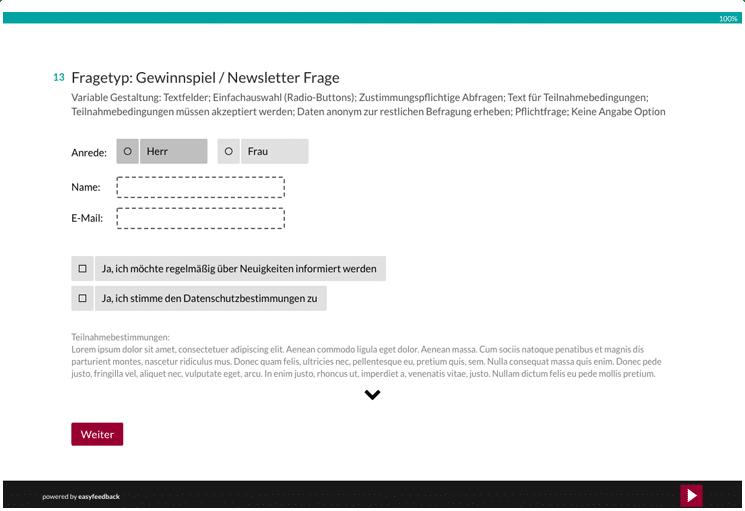 Fragetyp Gewinnspielspiel und Newsletterfrage
