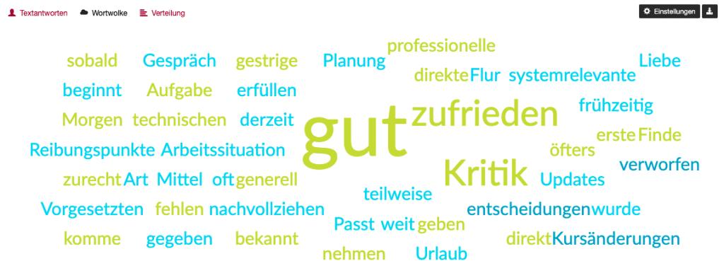 Visualisierung von Textantworten mit einer Wortwolke