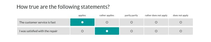 answer option as a matrix